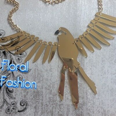 Large Gold Mirror Laser Cut Parrot Statement Acrylic Christmas Necklace Bird • 16.99£