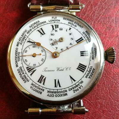 CYMA TAVANNES World Time Pocket Watch VINTAGE ANTIQUE F/S FROM JAPAN • 584.99£
