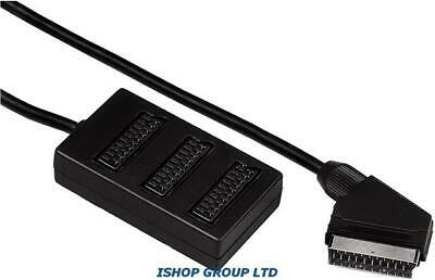 3 Way Scart Lead Cable Wire Splitter Switch Box Adapter Extension TV DVD VIDEO • 6.99£