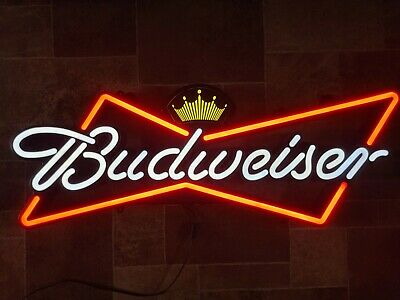 $ CDN241.61 • Buy Budweiser Beer Light Up Bowtie Led Sign Game Room Man Cave Pub Anheuser Busch
