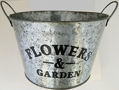 "Window Planters Printed 'Flowers & Garden' Tall Bucket Galvanized 5.7""H X 6""D, S • 2.50£"