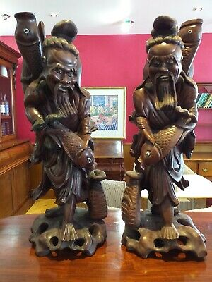 Chinese ANTIQUE Fine Carved Wood Wooden Figure Carvings PAIR FIGURES Fishermen • 269£