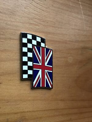 £4 • Buy Union Jack Chequered Flag Badge