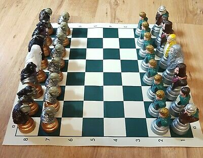 £50 • Buy Large Chess Set Lord Of The Rings Hand-Painted With Felt Bases New With Board