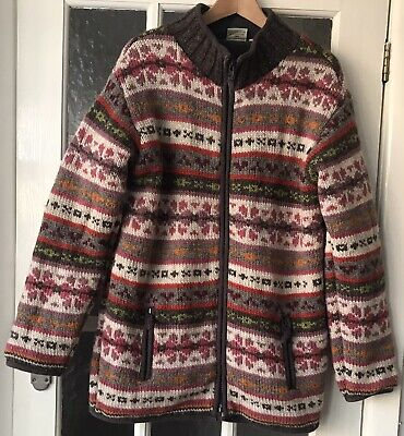 Pachamama Ladies Wool FAIRISLE Fleece Lined Zip Cardigan Size L • 15.99£