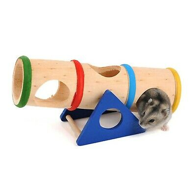 £26.99 • Buy Emours™ Small Animal Playground Cylinder Wooden Seesaw For Drawf Hamsters Mic...