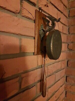 Antique Wall Mounted Dinner Gong And Striker With Oak Plaque • 265£