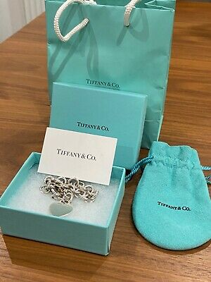 Genuine Tiffany Sterling Silver Heart Tag Chain Bracelet - Used. Good Condition. • 165£
