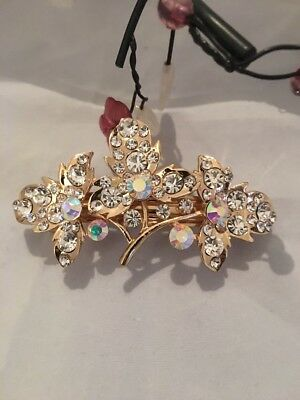 Crystal Hair Barrette Pin Hair Clip Sparkly Uk Seller Gold Clower Shape Gift Xma • 4.99£