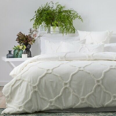 $ CDN102.71 • Buy Renee Taylor Moroccan 100% Cotton Chenille Tufted Quilt Cover Set - Blanc