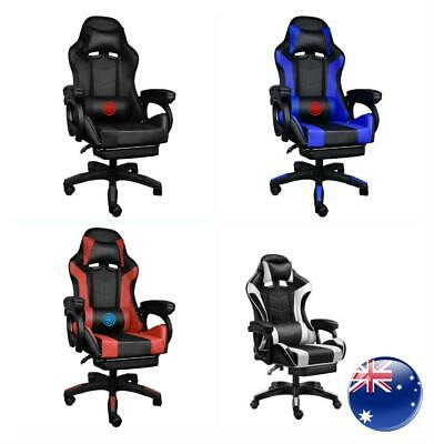 AU125.89 • Buy Gaming Office Chair Adjustable Computer Executive Recliner PU Massage Leather