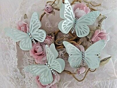 4 X 3 D Butterflies In Mint Green Pearl Card, With AB Diamante Toppers & Wedding • 2.25£
