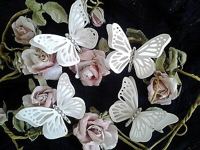 4 X 3 D Butterflies In White/Ivory Pearl Card With AB Diamante Toppers & Wedding • 2.25£