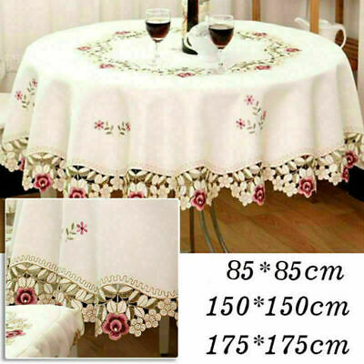 AU15.94 • Buy White Embroidered Tablecloth Floral Lace Round Table Cover Dining Banquet Decor