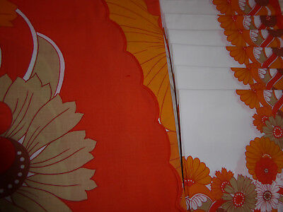 LOVELY VINTAGE FRENCH 1960 / 70's  ROUND TABLECLOTH + 8 NAPKINS - ORANGE FLORAL • 40£