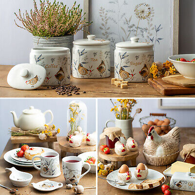 £11.95 • Buy Country Hens Fine Ceramic Tea Sugar Coffee Kitchen Canisters Jars Food Storage