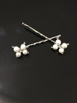 Silver Tone Pearl Hair Pin Clip Sparkly Bobby Clips Pins Special Offer RRP £4.99 • 1.49£