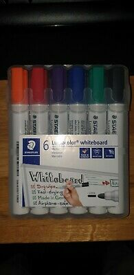 STAEDTLER 351 WP6 Whiteboard Marker With Bullet Tip - 6 Colours - 2mm Thickness • 7£