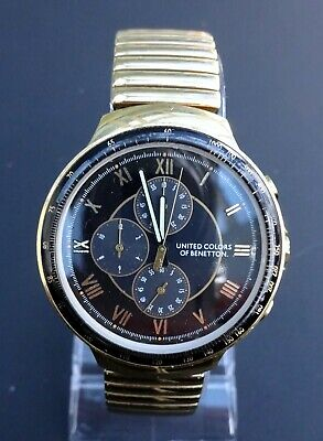 United Colors Of Benetton Chronograph Gold Watch Expandable Strap Black Face • 5£
