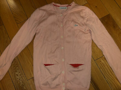 Lacoste Girls Pink Knitted Buttoned Cardigan Age 14 Slim 12 • 25£