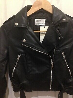 AU40 • Buy Bershka Asos Cropped Black Leather Biker Jacket With Belt XS 6 BNWT