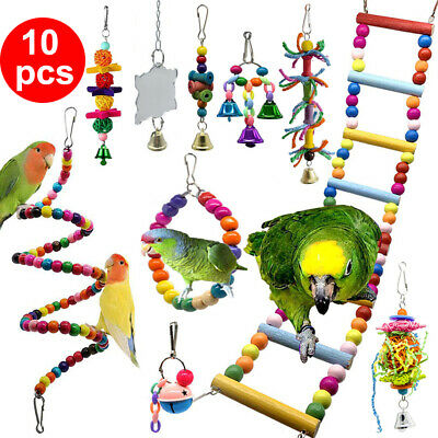 £8.99 • Buy 10 Pack Parrot Set Toys Metal Rope Small Ladder Stand Budgie Cockatiel Cage Bird