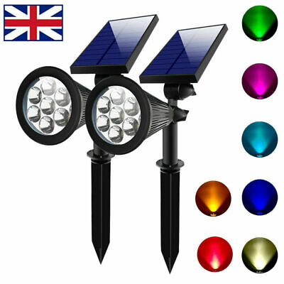 7 LED Waterproof Solar Garden Spotlights Outdoor Spot Light Colour Changing Lamp • 11.99£
