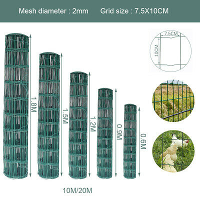 10/20M HeavyDuty PVC Coated Mesh Wire Border Garden Green Fence Panel FencingNet • 43.14£