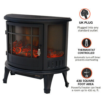 Freestanding Electric Fireplace Stove Heater W/Log Burning Flame Effect 1800W UK • 159.95£