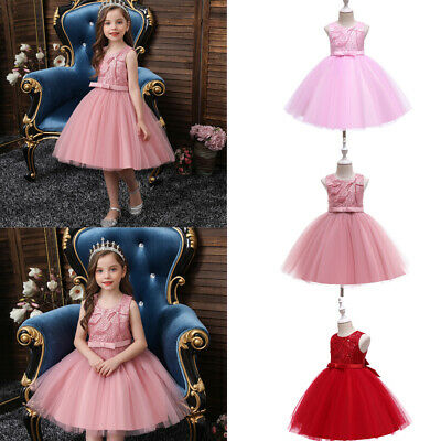 £18.35 • Buy Princess Girls Tulle Tutu Dress Kids Bridesmaid Dresses Pageant Party Ball Gown