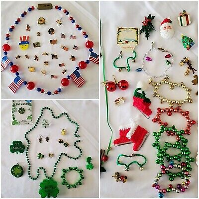 $ CDN19.03 • Buy Vintage Holiday Costume Jewelry Lots Christmas July 4th St. Patrick