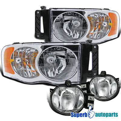 $102.56 • Buy For 2002-2005 Dodge Ram Crystal Clear Headlights+Bumper Fog Lamps Replacement