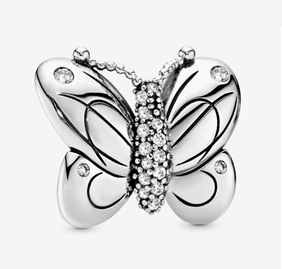 AU32.99 • Buy Authentic Pandora Stering Silver Decorative Butterfly 797880CZ Clip Charm New