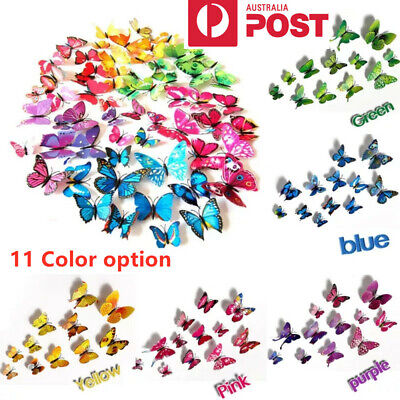 AU4.95 • Buy 12PCS 3D Butterfly Wall Removable Sticker Decals Kids Art Nursery Decor Magnets