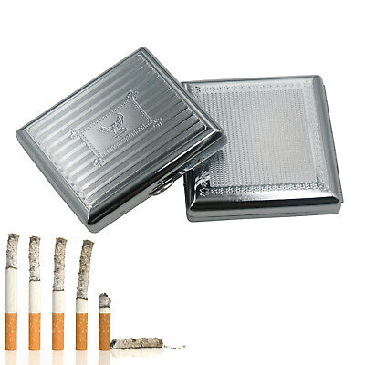 Vintage Metal Cigarette Case Stainless Steel Retro Holds 20 Cigarettes Box • 7.11£