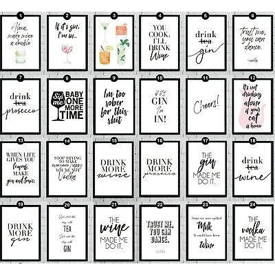 Favorite Alcohol Bar Drink Wall Art Picture Print Funny Home Décor Quotes Poster • 3.50£