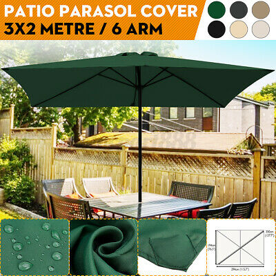 AU68.03 • Buy 3x2m 6 Arm Replacement Garden Parasol Canopy Cover Waterproof UV Protection ~`