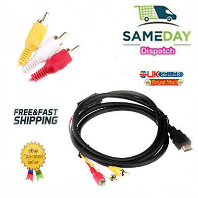 1.5m HDMI Male To 3 RCA Video Audio Converter Component AV Adapter Cable HDTV UK • 2.99£
