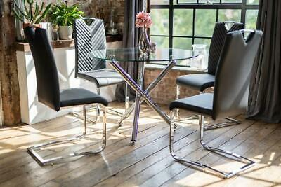 AU551.70 • Buy Maia Luxury Glass Dining Table Set With 4 Elio Black Chairs Round