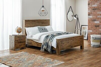 £399.99 • Buy Hoxton 4ft6 Bed Made From Solid Acacia Wood Rustic Oak Finish By Julian Bowen