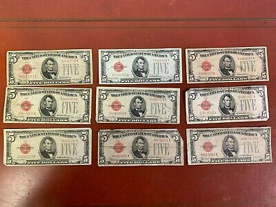 $ CDN139.07 • Buy Lot Of (9) 1928 5 Dollar United States Note Red Seal (1)