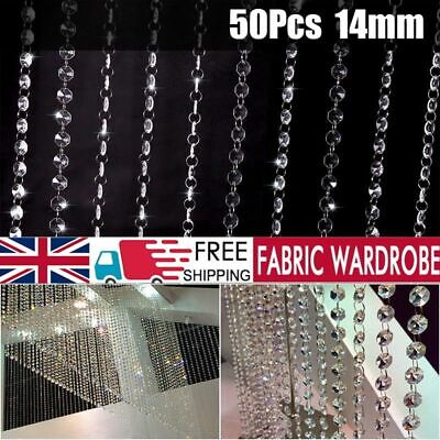 £7.11 • Buy 50x Cut Glass Crystal Beads Chandelier Spare Light Parts Bling Drops Transparent