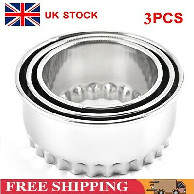 £6.29 • Buy 3X Stainless Steel Plain Crinkle Scone Pastry Quiche Tart Cookie Cutter S/M/L UK