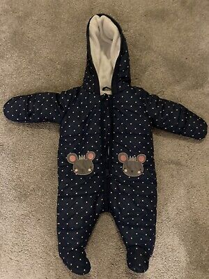 0-3 Months Blue Spotty Baby Pramsuit • 2.90£