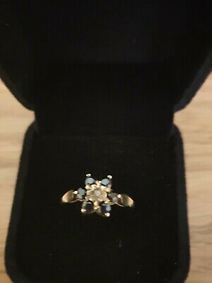 Pretty 9ct Gold Sapphire And Diamond Cluster Ring. Size P. • 27£