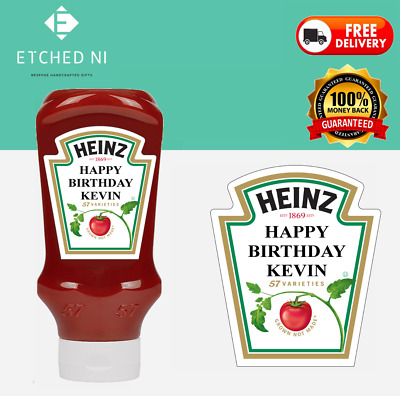 £4 • Buy Heinz Red Sauce 500ml Tomato Ketchup Sauce Personalised Label