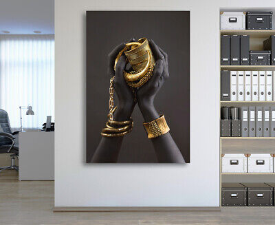 £7.99 • Buy Canvas Art Picture Print, Precious Gold Jewelry, Black Beauty Gold Accessories