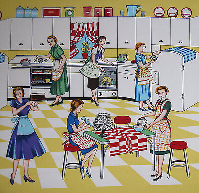 $12 • Buy Home Ec Retro Fabric By Michael Miller- 50's Kitchen, Vintage - By The Yard