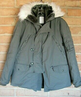 $85 • Buy Military Issue Parka Extreme Cold Weather N-3B  Coat With Faux Fur Hood  Large