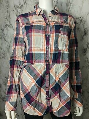 $ CDN39.23 • Buy Anthropologie Holding Horses M Medium Flannel Plaid Button Down Tab Sleeves